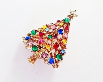 Vintage Tree Brooch / Pin / Rhinestone / 1950 / Holiday / Christmas / Retro