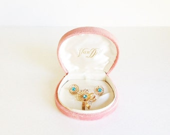 Vintage Demi Set / Van Dell / Demi Parure / 12K GF / Turquoise Rhinestone / Brooch / Pin / Earrings / Christmas / Gift Set / Jewelry Set