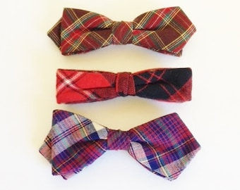 Vintage Bow Ties  / Clip / Retro / Mid Century / Mad Men / Plaid /  Party / Christmas / Holiday / Formal / New Year's/ Wedding / Groomsmen
