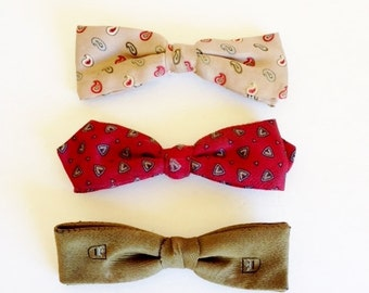 Vintage Clip Retro Bow Ties  / Mid Century / Mad Men / Stripes /  Party / Christmas / Holiday / Formal / New Year's / Wedding / Groomsmen