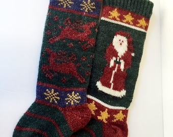 Vintage Knit Stocking / Christmas / Kurt Adler / Holiday / Wool / Nordstrom / Made in Thailand / Pair / Set / Original Tag