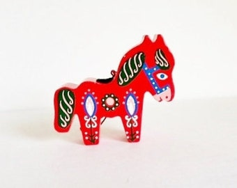 Vintage Sevi Christmas Ornament / Decoration / Wood / Hand Painted / Burro / Donkey / Italy / 1950 / Mid Century / Folk Art