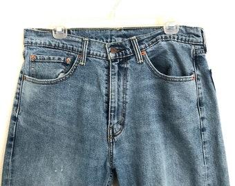 Distressed Wrangler W34 L32 Jeans Blue Jeans Street Wear Straight Leg Jeans