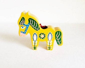 Vintage Sevi Christmas Ornament / Wood / Hand Painted / Burro / Donkey / Horse / Italy / 1950 / Mid Century / Yellow / Folk Art / Democrat