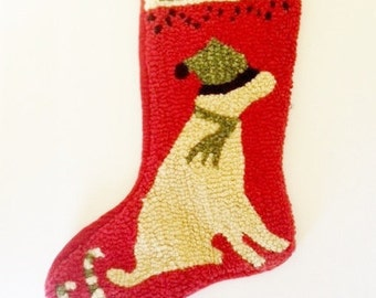Hooked Yellow Labrador Retriever Stocking / Christmas / Velvet / Holiday / Wool / Yellow Lab