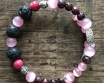 Lava Stone Diffuser Bracelets -Pink & Red