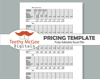 Pricing And Costing Template Instant Download Editable Business Tool