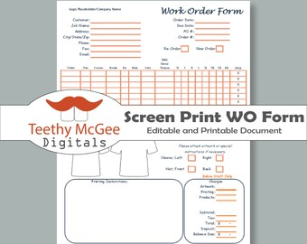 work order form for screen printing instant download etsy