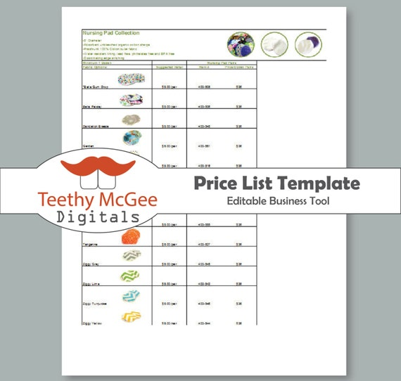 Price list template instant download editable for wholesale etsy image 0 wajeb Gallery