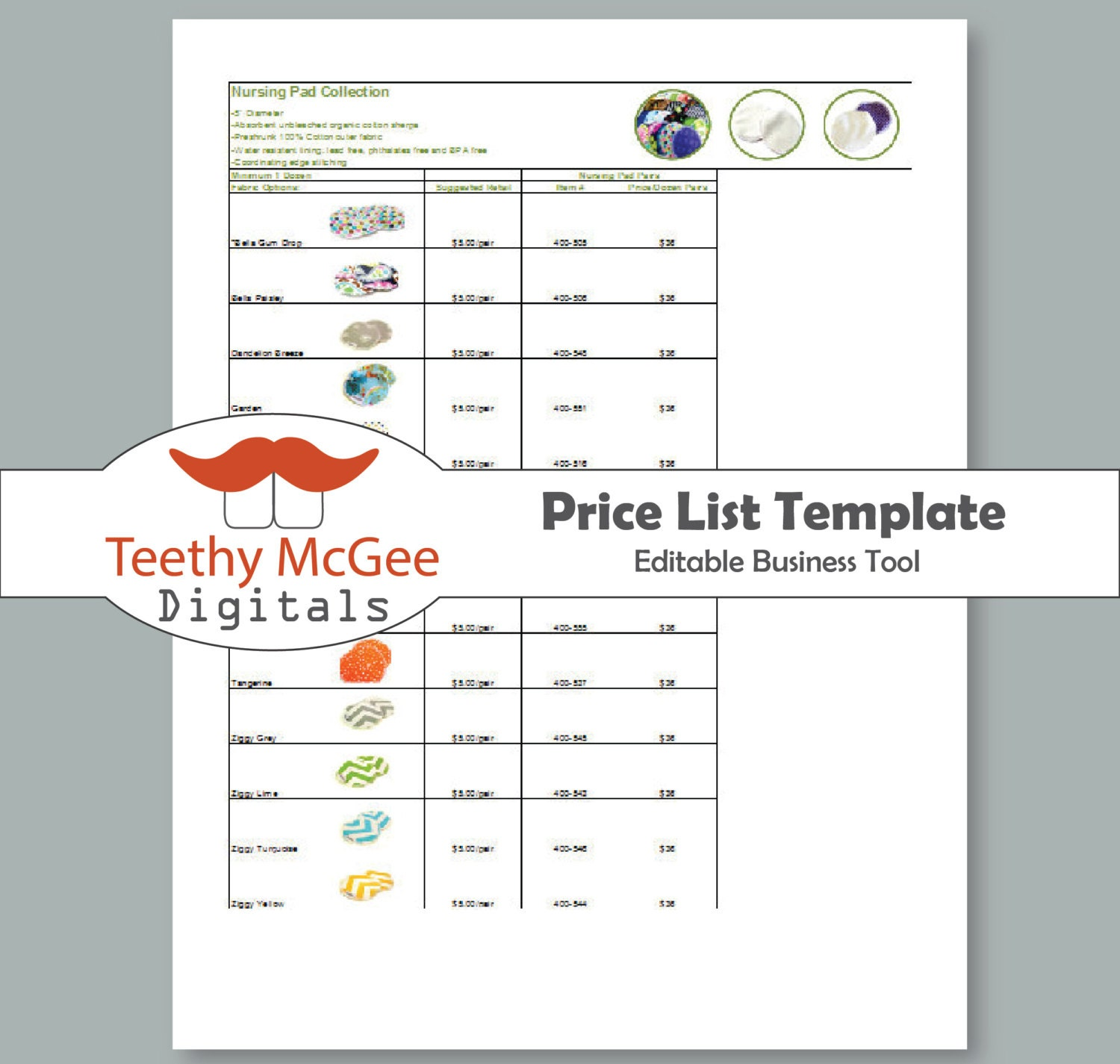 Price List Template Instant Download Editable For Wholesale Etsy