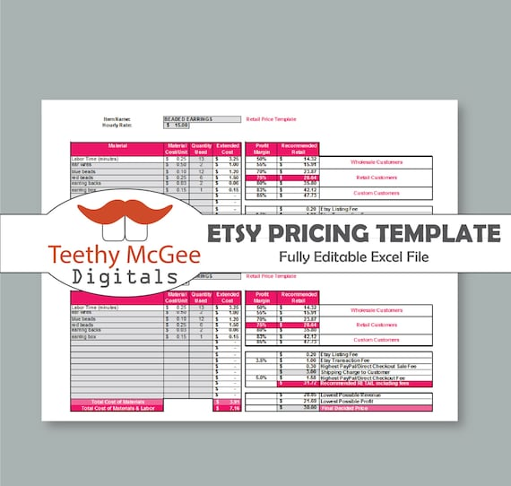 Price Template For Etsy Sellers Instant Download Editable Etsy
