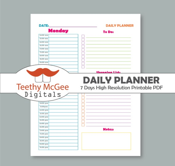 7 daily planners for time management instant download etsy