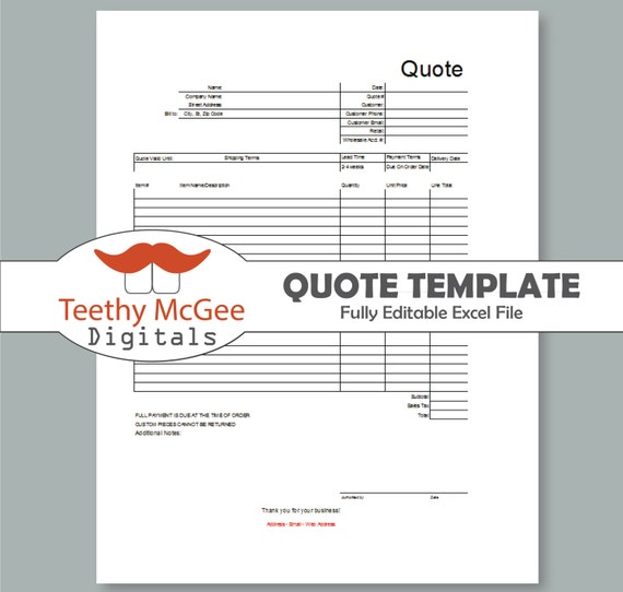 Quote Form Template Instant Download Editable Business Tool Etsy