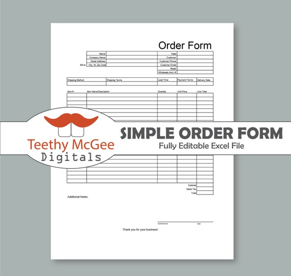 Order Form Template Instant Download Editable Business Tool Etsy