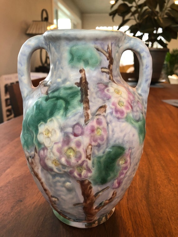 Weller Pottery Silvertone Lilac Two Handled Vase From The Etsy