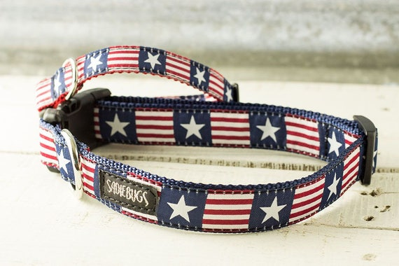 Stars and Stripes Blue Flower Dog Collar; Patriotic Flower Dog Collar Red White