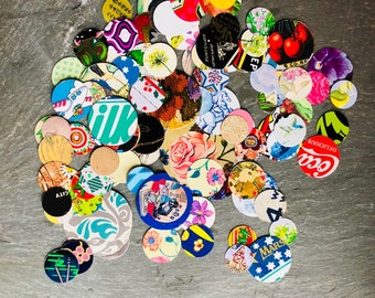 50 pieces- UNSANDED Recycled discs; Tin vintage metal pieces; jewelry making tin; Tin scraps; Handcut cookie tin; Leftover tin; tin pie