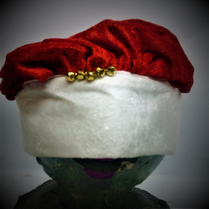 Wide Band Red Santa Hat with Bells