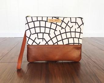 Mosaic Print Wristlet, Leather Wristlet, Leather Clutch, Mosaic Print Clutch, Fold Over Clutch