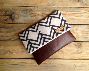 Modern Print clutch, leather clutch, leather fold over clutch, triangle clutch, chevron clutch,