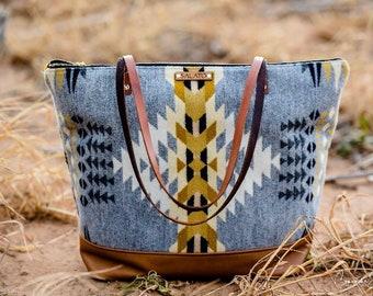 Large Wool Tote - Tribal tote - Leather Tote - Diaper Bag - fall tote - weekender - overnight bag- Wool Bag