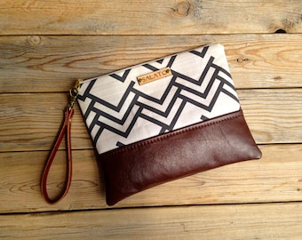 Modern Print  and Leather Wristlet, Triangle wristlet, chevron wristlet, leather wristlet