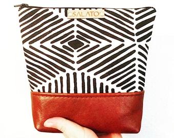 Canvas and Leather Makeup bag, Makeup Bag, Cosmetic Bag, Leather Makeup bag, Leather Clutch, Toiletry Bag