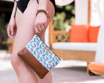 Banana Leaf Print Wristlet, Leather Wristlet, Leather Clutch, Mosaic Print Clutch, Fold Over Clutch