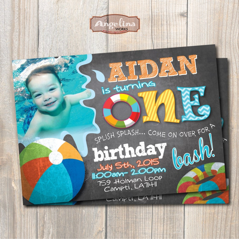 Pool Party Birthday Invitation First Chalkboard
