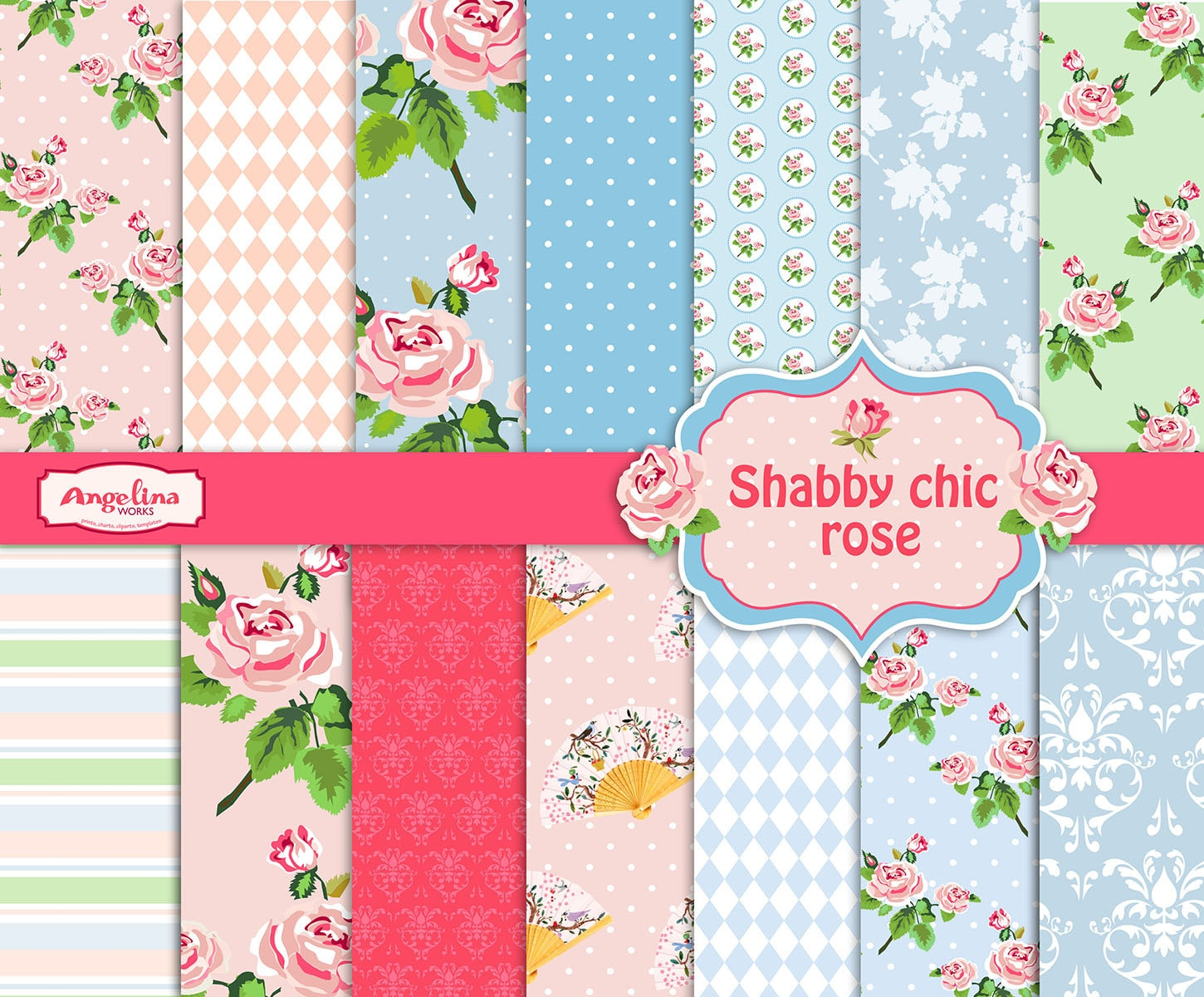 14 Shabby Chic Rose Digital Scrapbook Paper pack for ...