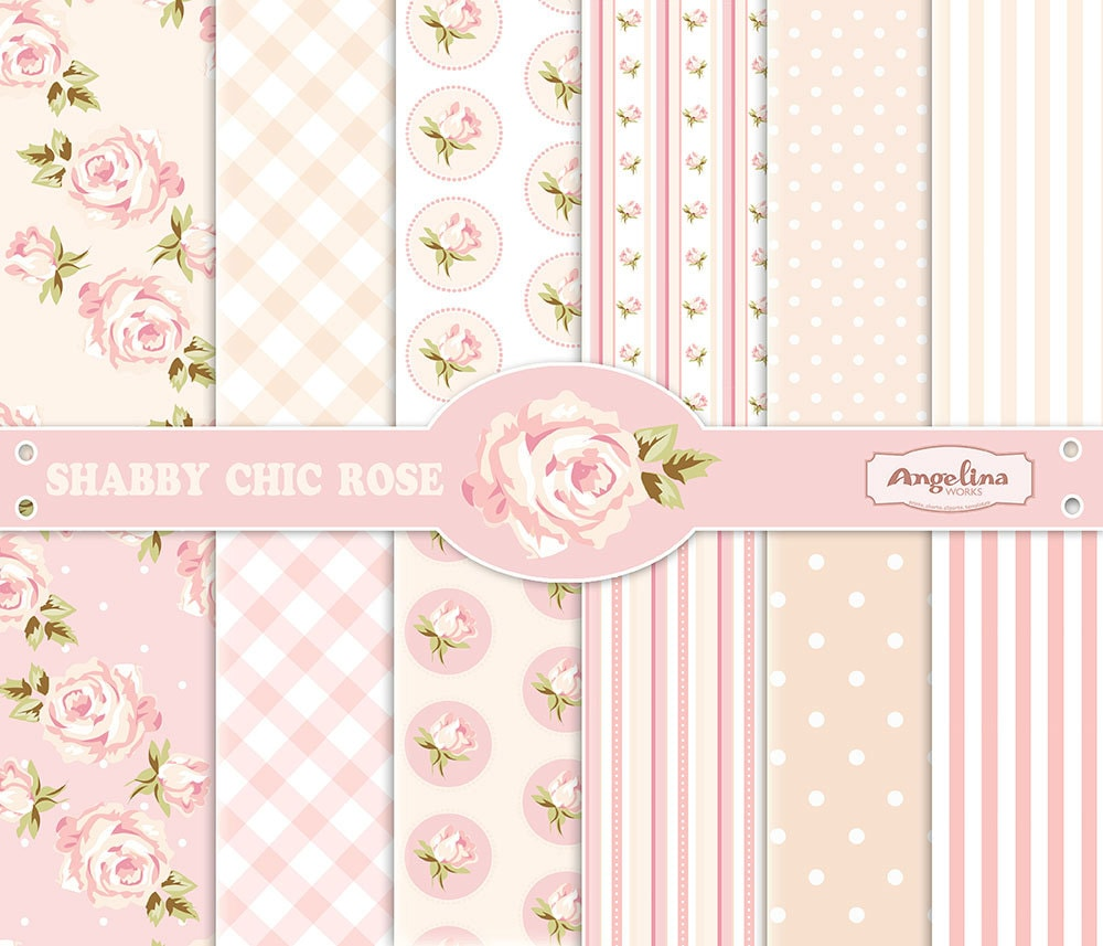 Magnificent 12 Shabby Chic Rose Digital Scrapbook Papers 3 Vector Images In 1 Eps For Invites Card Making Digital Scrapbooking Beutiful Home Inspiration Xortanetmahrainfo