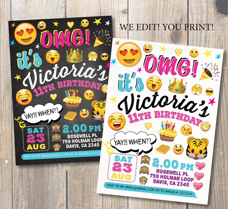 Emoji fiesta cumpleaños de emoticonos Emoji pizarra | Etsy