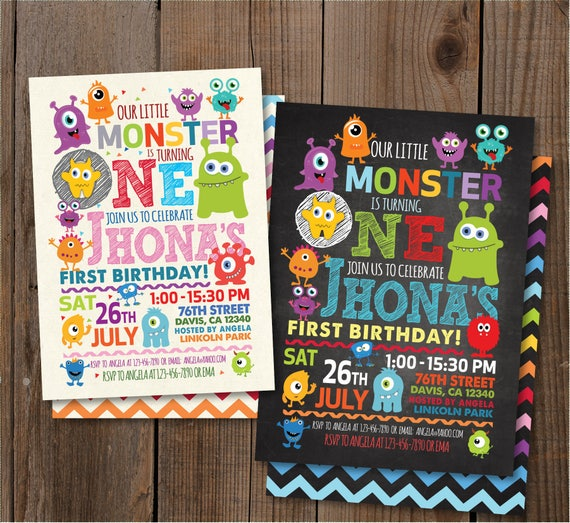 little monster birthday party invitation monster birthday etsy