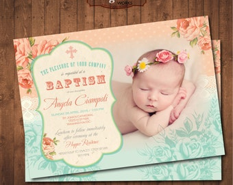 Peach and Teal Baptism Printable Shabby Chic Invitation.
