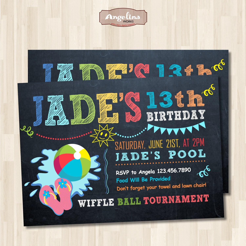 Invitación de cumpleaños fiesta de piscina de pizarra. Fiesta | Etsy