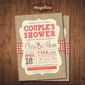 Digital Printable Card COUPLE\u2019S SHOWER Bulrap Invitation Pack I do BBQ