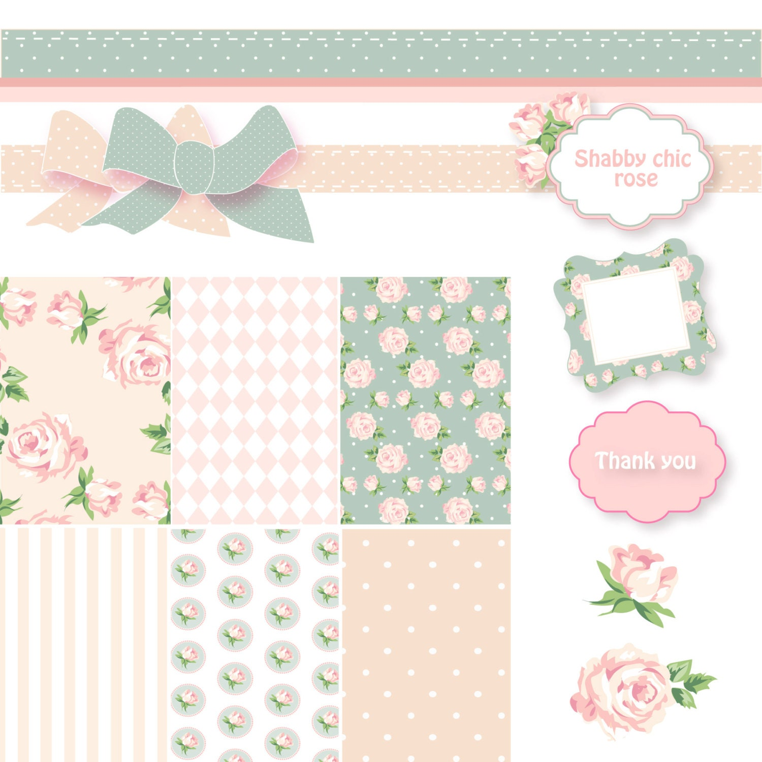 Brilliant Shabby Chic Digital Scrapbook Paper Pack Pink And Blue Papers Frames And Roses Clip Art Beutiful Home Inspiration Xortanetmahrainfo