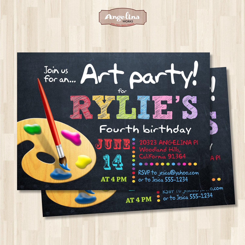 Pintura invitación fiesta de cumpleaños. Colores del arco | Etsy
