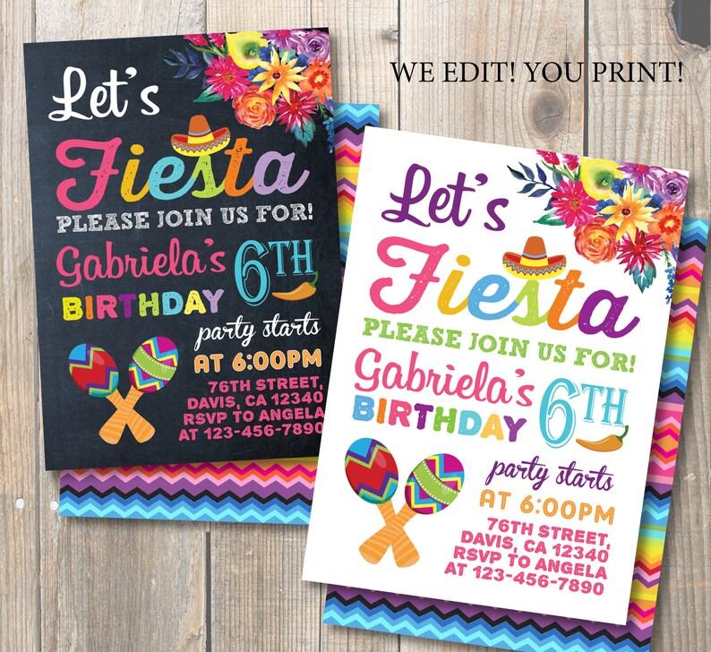 Fiesta Birthday Party Invitation Mexican Watercolor