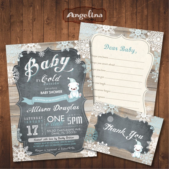 Winter baby shower invitation pack chalkboard polar bear etsy image 0 filmwisefo