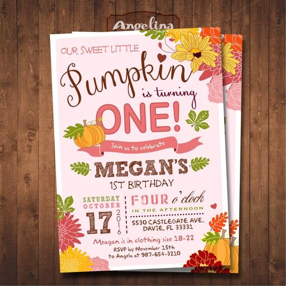 Little Pumpkin 1st Birthday Invitation DIY Card Digital