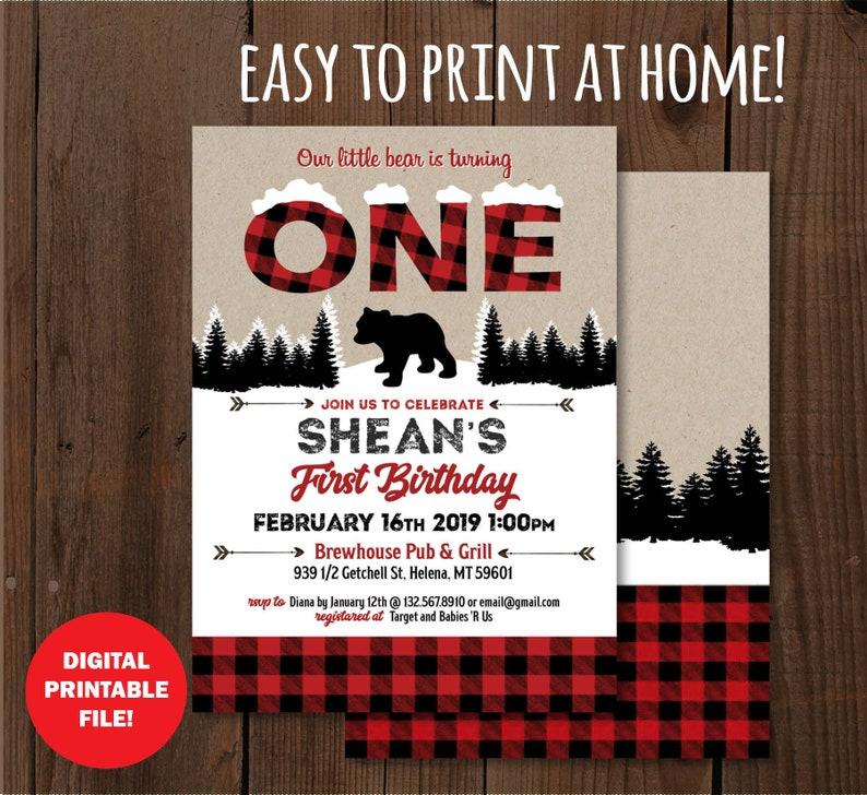 Winter Onederland buffalo plaid rustic lumberjack boy birthday Little Bear Birthday Invitation