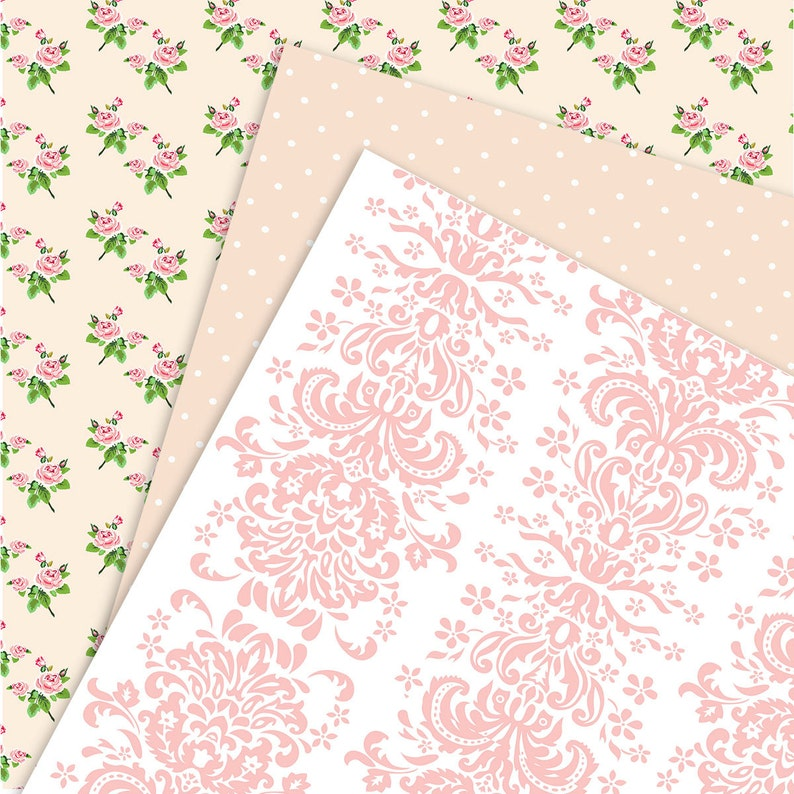 Shabby Chic Digital Scrapbook Paper Pack. Pink and Green ...