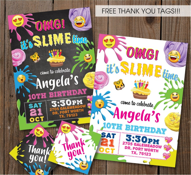 Slime Birthday Party Invitation Emoji Craft DIY Card Digital Printable