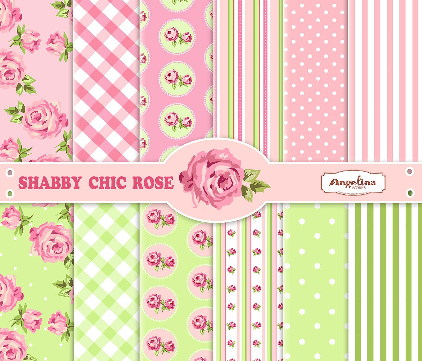 12 Shabby Chic Rose Pink and Green Digital Scrapbook ...