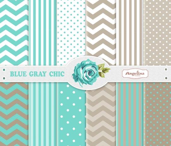 wallpapers 12 Digital Blue Gray Chevron Scrapbook Paper Pack for invites card making digital scrapbooking