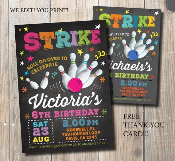 Bowling Zaproszenie Party Bowling Urodziny Zaproszenie Bowling Karta Diy Zaproszenie Darmowe Karty Z Podziękowaniami