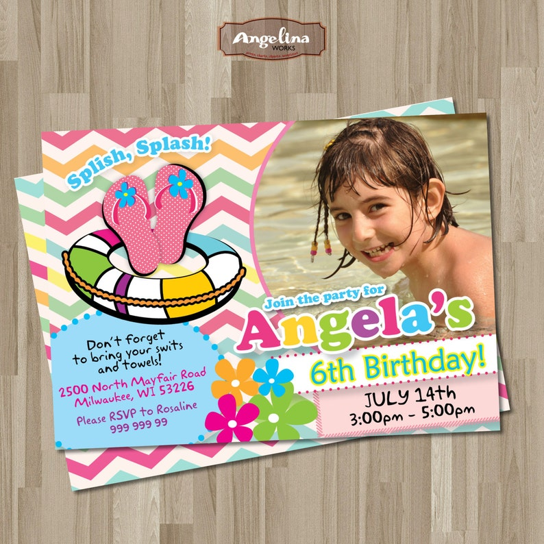 Double Pool face party Invitation anniversaire. Carte de | Etsy