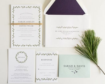 Greenery Wedding Invitation,  Watercolor Greenery Wedding Invite:  SARAH.