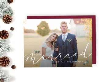 Christmas Card, Married Christmas, Merry and Bright, Photo Christmas Card